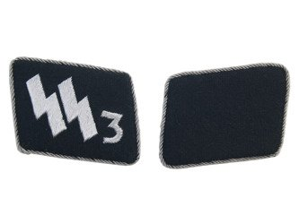 Early SS-VT officer collar tabs - Der Führer Regiment - nr 3 - repro