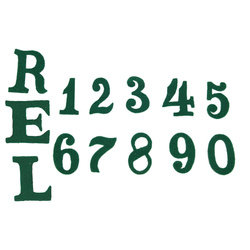 "Numbers and letter ""R"" for Pickelhaube cover - green - repro"