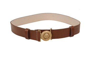 Prussian officer belt with buckle - brown - repro