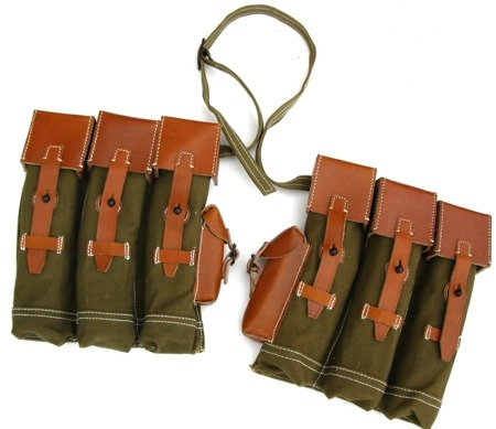 StG 44 magazine pouches with leather flaps - set - repro