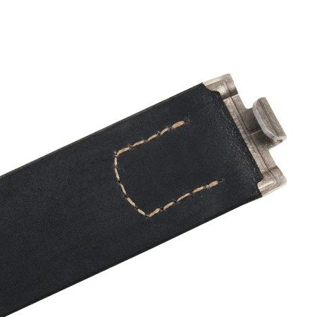 WH/SS Feldkoppel - black leather belt, aluminium hook - repro